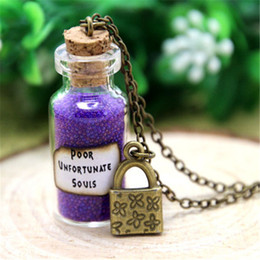Wholesale Lock Pendant Necklace - 12pcs Ursula Poor Unfortunate Souls Necklace with a Lock Charm Villain, Little Mermaid necklace in bronze