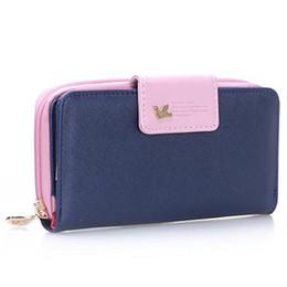 Wholesale Office Wallets - Wholesale- Women clutch wallet Long Zipper PU leather purse pink-blue office
