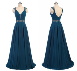 Wholesale Black Ink Lining - Elegant Real 2017 Fall Ink Blue Dresses Evening Wear Cap Sleeve Backless A Line Chiffon Formal Mother Of The Bride Dresses With Beads