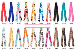 Wholesale Skull Hair Tie - Colorful Twilly Scarf Handbag Decoration Little Tie For Fashion Girl 117 Colors Mix Small Scarf Hair Bandanas