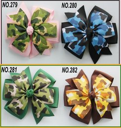 Wholesale Double Bow Clips - 4.5inches Baby Ribbon Bow Double Layer Hairpin Clips Girls Camo Animal Print Bowknot Barrette Kids Children Hair Accessories KFJ131