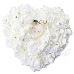 Wholesale Heart Shaped Wedding Ring Cushion - Wholesale- Romantic White Rose Wedding Pillow Favor Heart Shaped Jewelry Gift Ring Box Cushion Wedding Decor
