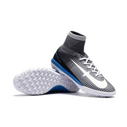 Wholesale Shoes For Mens Football Indoor - Newairl kids soccer shoes for boys mercurial superfly tf cr7 sock boots football womens mens high tops ronaldo ankle indoor soccer cleats