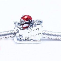 Wholesale Metal Charm Santa - Sleighing Santa Charms With Translucent Red Enamel Beads Fits Pandora Bracelet Authentic 925 Sterling Silver Jewelry Free Shipping