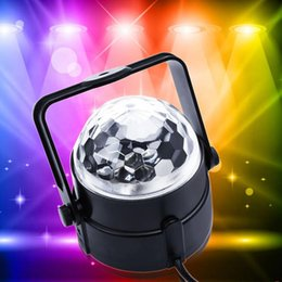 Wholesale Rotating Disco Ball Light - 110v -240v voice-activated LED Mini Rotating lamp Magic Ball Party Lights Stage Lighting RGB Colorful Disco DJ Party KTV Stage laser Light