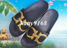 Wholesale Red Hot Hotels - Hot Sale 2017 Classical Black Gold Men Slippers Top Quality New Ferr PU Slide Sandals for Boys in Clearance Price