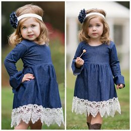 Wholesale Lace Ruffle Girls Dress Headband - 2017 Spring New Girl Princess Dress Long Sleeve Lace Denim Dress Children Clothing GF004 Not Have Headband