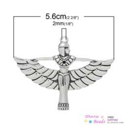 Wholesale Antique Coin Pendant - Charm Pendants Egyptian Queen ( Can Hold ss6 Rhinestone) Antique Silver 5.6cm x 4.2cm,10PCs (B34322) silver