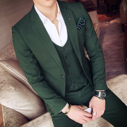 Wholesale Tuxedo Prom Single Button - Wholesale- 2017 Green Tuxedo Jackets Mens Suits Slim Fit 3 Piece Sets White Stylish Designer Prom Suits Grey Costume Homme Mariage Smocking