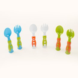Wholesale Wholesale Tableware China - Vertical Interest Children High Quality Fork And Spoon Suit Antiskid Handle Passivation Tip Portable Tableware Hot Sell 10ry J R