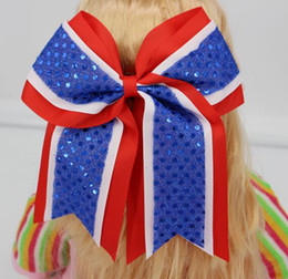 "Wholesale White Ponytail - Free Shipping 30 Pcs lot Kids 8"" Cheer Bows,Baby Three Layers Cheerleading Bow,Girl Elastic Band With Ponytail,Sequin Hairbows"