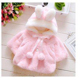 Wholesale Ear Bunny - Girl Blazer Jackets Kids Bunny Ear Coats Outerwear Hooded With Pompom Soft Keep Warm Kid Clothing Childrens Toddler Jacket