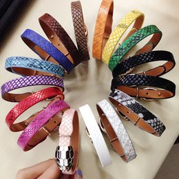 Wholesale Bar Sliders - New Hot Sale PU Leather Bracelet Bangles Snakehead Design For Women And Men