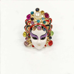 Wholesale Chinese Cloisonne - Fashion and personality people set auger Chinese Peking Opera mask Peking Opera blues boom lady ring