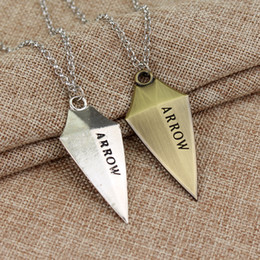 Wholesale Cosplay Arrow - Hot movie 3D DC Comic Green Arrow Logo Oliver Queen Hero TV Pendant Necklace fashion Cosplay jewelry Christmas birthday gift