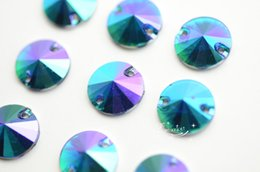 Wholesale Red Craft Beads - 100 12mm Color Purple Acrylic beads Rivoli Faceted Sew On Flat Back Jewels Craft Accessories