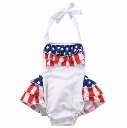 Wholesale Flag Clothes - 2017 Summer New Baby Girl National Day Bodysuits American flag Tiered Skirt Overalls Toddler Clothing 0-2Y LX001