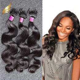 Wholesale Wholesale Malaysia Hair - 100% Malaysia Human Hair Weave Natural Black Color Wavy Body Wave 3pcs lot Unprocessed Hair Weaves Free Shipping