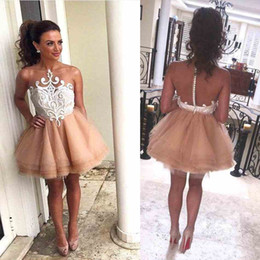 Wholesale Blue Prom Dresses For Teens - Mini Length Short Party Dresses With Sheer Neckline Appliques Organza Layered Homecoming Dress For Teens Sexy Back Covered Button Prom Dress