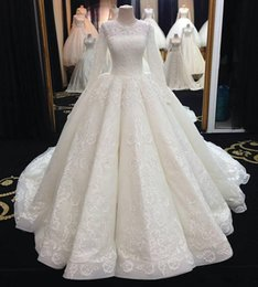 Wholesale Small Ball Gown - 2017 Luxury Wed Dress Small O-Neck Long Sleeve Lace Appliques Custom made Ball Gown Wedding Dress
