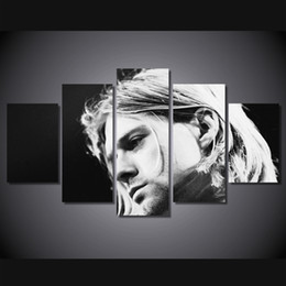 Wholesale poster printing free - 5 Pcs Set Framed HD Printed kurt cobain Poster Group Painting Canvas Print room decor print poster picture canvas Free shipping ny-951