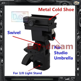 Wholesale Umbrella Bracket - Wholesale-Metal Flash Stand Cold Shoe Umbrella Holder Swivel Bracket B Type For Studio Flash Light Stand PF261