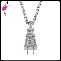 Wholesale Real Red Crystal Necklace - 2017 Top Quality Real Micro Pave Cubic Zircon Hip Hop Jewelry Rock Punk Plug Shape Bling Iced Out Men Boy Pendant Necklaces (NL005S)