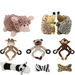 Wholesale Sheep Dog Toy - Dog Puppy Plush Toys Pet Chew Squeaker Squeaky Plush Sound Hedgehog Sheep Monkey Cow Dumb Pet Talking Toys Dog Cat Toy free shipping