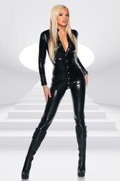 Wholesale Tight Wear Dance - Unique Black Sexy Catsuit Rivet Buckle Long Jumpsuit Ladies Tight-fitting Bodysuit Playsuit Catwoman Outfit Dancing Wear