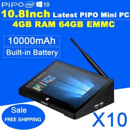 Wholesale Tablet Dual Core Gps Tv - Newest 10.8 Inch 1920*1280 PIPO X10 Mini PC Full HD Android TV Box Z8300 Quad Core 4G RAM 64G ROM HDMI Media Box Bluetooth Win10