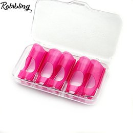 nails protector Coupons - Wholesale- 2017 New Arrival 5pcs Box Professional Pink Nail Art Protector Clip Reusable Plastic Nail Form Nail Care Manicure