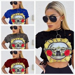 Wholesale Top New Products - New Product Women Crop Tops Shirt European Sexy Ma'am Round Neck Sleeve Guns And Rose Band Printing Short Fund T-shirt