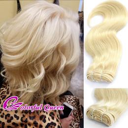 Wholesale Blonde Wigs Wholesale - ColorfulQueen 300g Lot 613 Blonde Human Virgin Hair Weave Body Wave Platinum Blonde Human Hair Bundles Body Wave Making Bob Wigs 6pcs 10Ich
