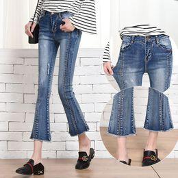 Wholesale Baggy Leggings - The new high waisted jeans BDF female Korean spring thin slim flash horn nine pants denim baggy pants