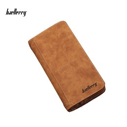 Wholesale Cheap Purple Clutches - Baellerry Men's Fashion Design Matte Leather Wallet Long Hand Clutch Bag Cheap Price Card Holder Coin Purses