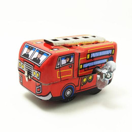 Wholesale Tin Toy Retro - Retro Classic Firefighter Fire Engine Truck Clockwork Wind Up Tin Toys New Hot YH996