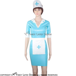 Uniforme de latex azul online-Lake Blue Sexy Fetish Látex Uniforme de enfermera establece un vestido de goma con arnés delantal con cremallera en la espalda LYQ-0008
