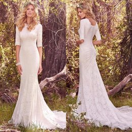 Wholesale Silver Mermaid Style Wedding Dresses - Vintage Modest Wedding Dresses With Half Long Sleeves Bohemian Lace Wedding Gowns 2017 Country Style Wedding Dresses Custom Made BA5580