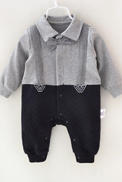 Wholesale Toddler Boy Plaid Rompers - INS baby boys gentleman rompers newborn cotton plaid bows tie long sleeve lapel jumpsuit 2017 new spring toddler kids fashion clothes C0279