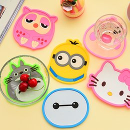 Wholesale Kt Tools - Wholesale- lovely cartoon KT cat&totoro&owl Silicone Heat Resistant Coaster Cushion Placemat Holder Coffee Table Cup Mats Pad Kitchen Tools