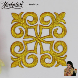 Wholesale Flowers Trimmings - YACKALASI 20 Pieces Lot Gold Metallic Appliqued Square Flower Venise Patches Embroidered Crafts Iron On Trims 8cm*8cm