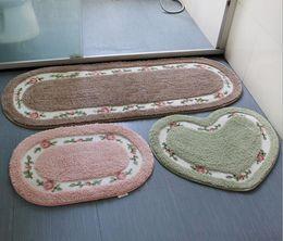 Wholesale Cheap Door Mat - Rose Door Rugs Hall Bedroom Oval Bathroom Carpets Antiskid Mat Absorbent Carpet 2017 Cheap tea table Carpets 50cm*80cm