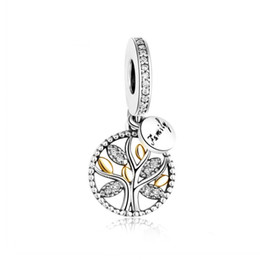 Wholesale Sterling Tree - 2017 New 14k Gold Plated Leaf & Clear CZ 925 Sterling Silver Family Tree Dangle Pendant Charms Fits Beads Bracelets DIY Jewelry Making HB390