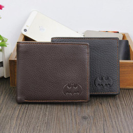 Wholesale batman tops - New Arrivals Trendy Batman Pattern Top Quality Genuine Cowhide Leather Short Wallets Credit Card Holder Coin Purse Notecase for Men