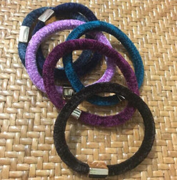 Wholesale Hair Tie Headbands - New 10pcs 6 color Velet elastic hair ties Luxury band hair rope bracelets headband Ornament accessories with metal LOGO Buckle VIP Gift