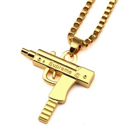 Wholesale Star Long Pendant - Fashion Star Style Hip Hop Necklaces Jewelry Engraved Letter Gun Pendant Necklace 24 Inches Long Chain For Men Women With Gift Box