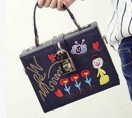 Wholesale Designer Handbags Japan - women box tote bag famous designer Embroidery handbag flower Sequin bag rivet luxury brand evening bag