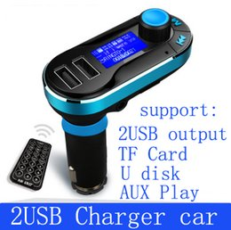 Wholesale dual aux - T66 Car MP3 Player Infrared Remote Control Support AUX Cigarette Lighter Type Card Machine Dual USB Car Charger Car Stereo Music