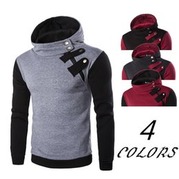 Wholesale Inclined Zipper Jacket - Wholesale- new 2016 men's fashion color matching a hooded fleece inclined zipper head fleece jacket