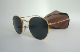 Wholesale Sunglasses Round Gold Metal - 1Pair High Quality Round Metal Sunglasses For Mens Women Sun glasses Gold Frame Black Glass Lens 50MM With Box Case